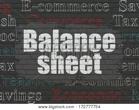 Money concept: Painted white text Balance Sheet on Black Brick wall background with  Tag Cloud