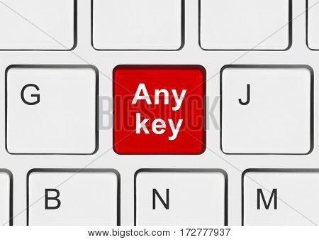 Computer keyboard with Any key - technology background