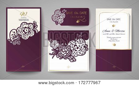 Set of Wedding Floral Invitation. Template for laser cutting. Vector illustration.