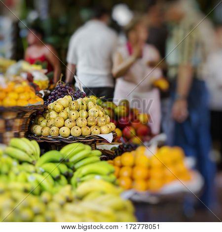 Fresh exotic fruits in Mercado Dos Lavradores in Madeira Island Portugal.