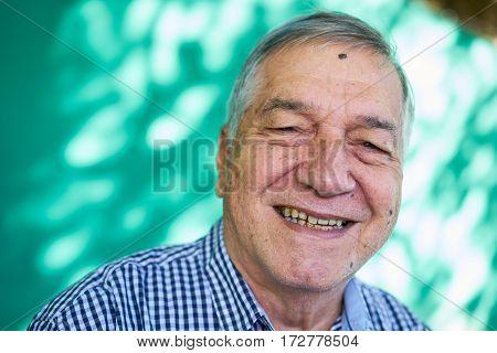 White People Portrait Happy Senior Man Smiling At Camera