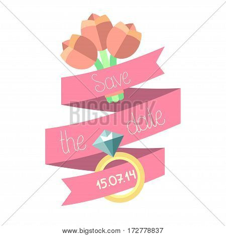 Vector wedding invitation card with ribbon, flowers, ring and text save the date