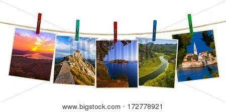 Montenegro travel images (my photos) on clothespins isolated on white background
