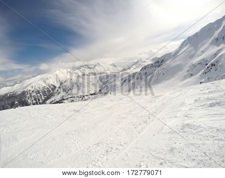 Magnificent nature in winter on mountain peaks