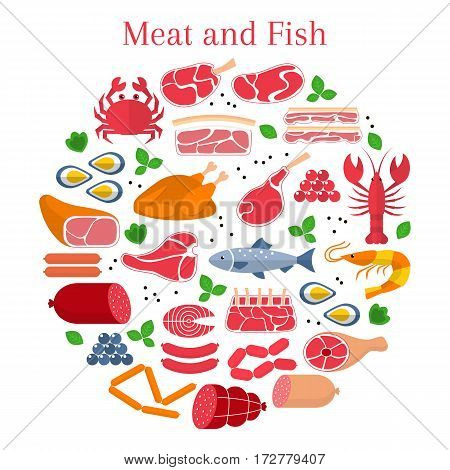 Vector flat illustration with different kinds of meat and fish, beef steak, lamb, pork, chicken, sausages, crab, salmon, lobster, shrimp, oyster and caviar, isolated on white background