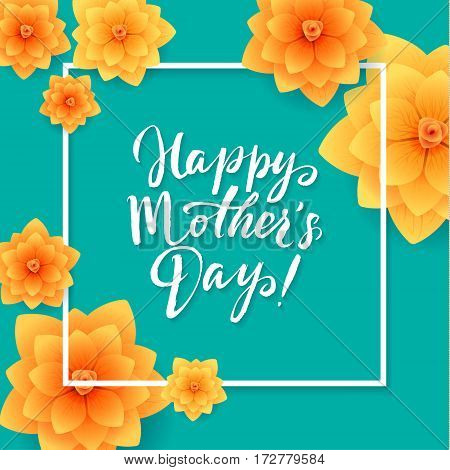 Happy Mothers Day Floral Greeting Card. Beautiful blooming paper flowers