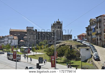 PORTO, PORTUGAL - AUGUST 5, 2015: The Cathedral located in the historic center of the city in the upper part of the Batalha neighborhood in Porto Portugal