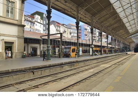 PORTO, PORTUGAL - AUGUST 5, 2015: Inside of San Benito Railway Station in the city of Porto in Portugal.