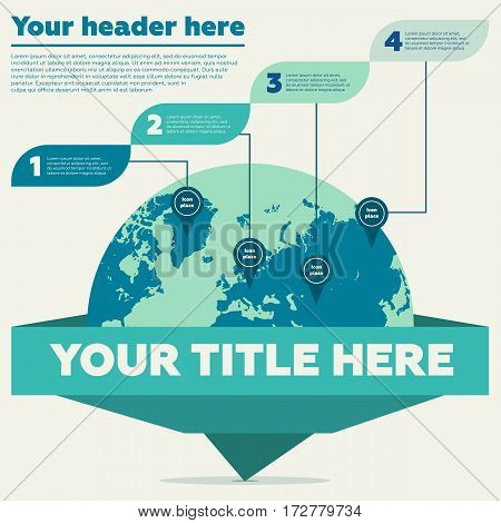 Infographics elements - world map and 4 steps