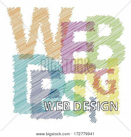 Vector web design. Colorful broken text scrawled isolated