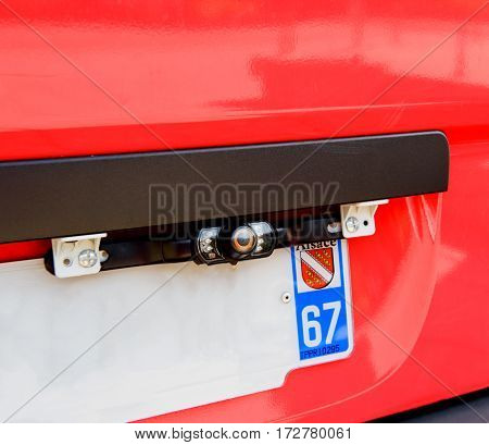 Rear view camera on red van used for Intelligent Parking Assist System