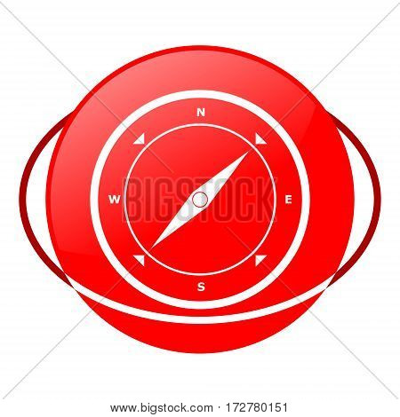 Red icon, compass vector illustration on white background