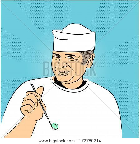 Dentist with mirrow. Pop art retro vector, realistic hand drawn illustration.