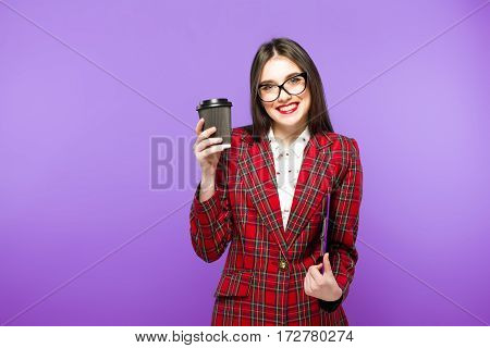 Portrait Of Beauty Student Girl With Cup Of Tea Or Coffee From Paper Cup On Blue Background.