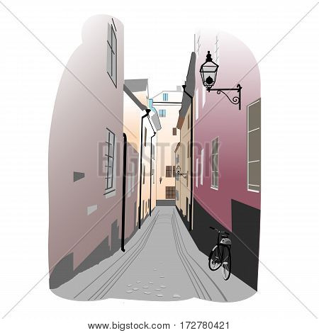 Colorful europeen town sketch vector Illustration. Old town street of Stockholm with bicycle.