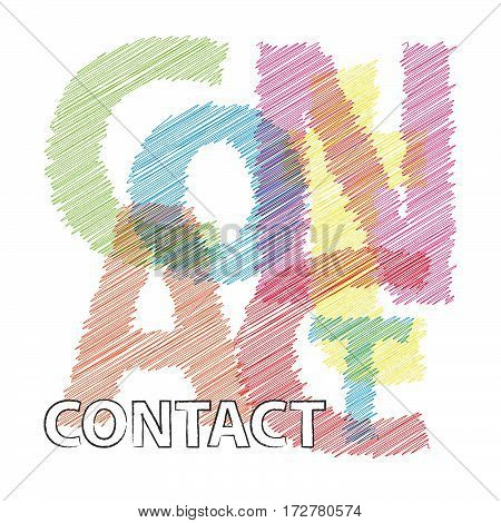 Vector Contact. Colorful broken text scrawled isolated