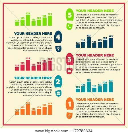 Infographics elements - steps and line chart. Vector illustration