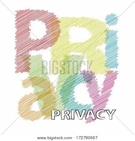 Vector Privacy. Colorful broken text scrawled isolated