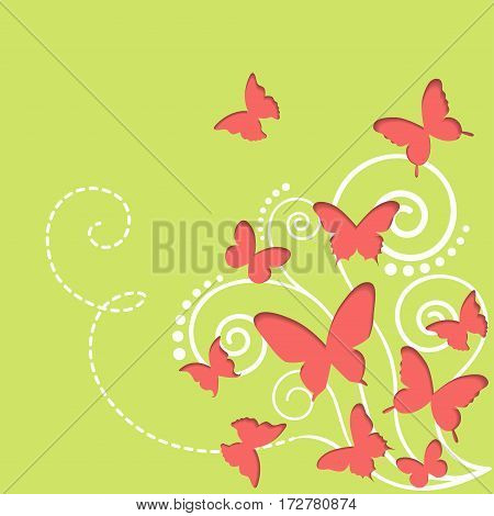 Cutout butterflies and plants spring background. Vector illustration