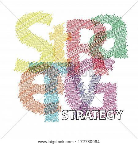 Vector strategy.  Colorful broken text scrawled isolated