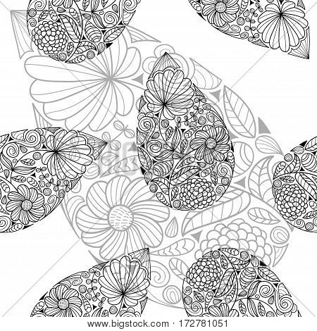 Black and white paisley vector seamless pattern. Ethnic endless background