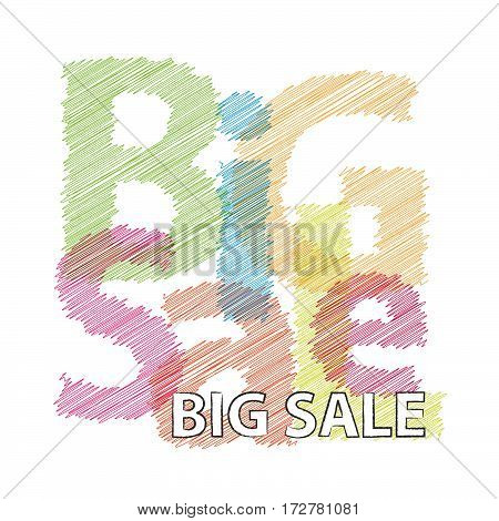 Vector big sale. Colorful broken text scrawled isolated