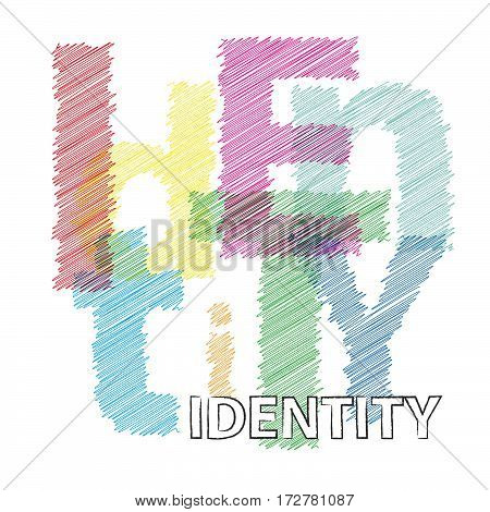 Vector identity. Colorful broken text scrawled isolated