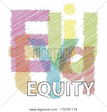 Vector equity. Broken text  Colorful broken text scrawled isolated