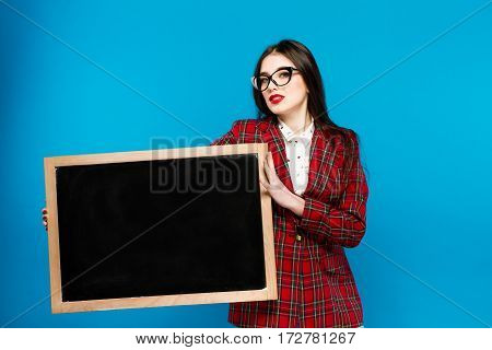 Beautiful Girl Holding A Blackboard. Study Emotions