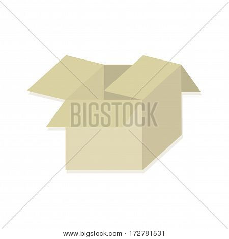 Open brown box on a white background. Delivery of parcels and packages, wrapping gifts. Vector illustration.
