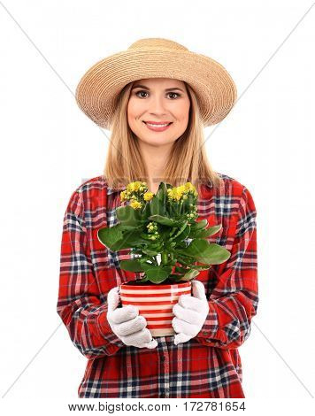 Beautiful woman florist in hat holding house plant isolated on white background