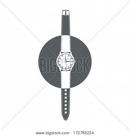 Wrist watch with strap and hands. Black and white time icon. Vector illustration.