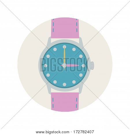 Wrist watch with pink strap and arrows.  Vector illustration.