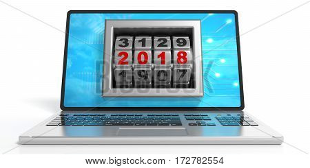 New Year 2018 On A Laptop's Screen. 3D Illustration