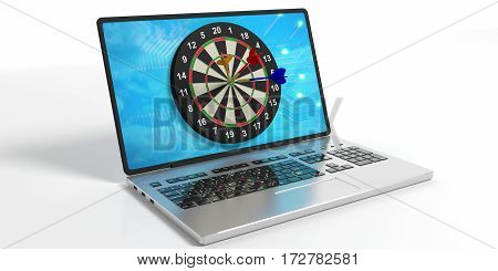 Darts Board On A Laptop's Screen. 3D Illustration