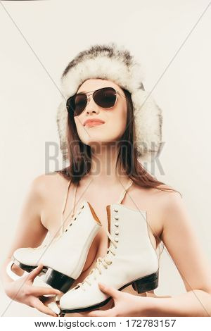Woman Skier Girl No Wearing Winter Sport Activity. Beautiful Sportswoman. Woman Winter.