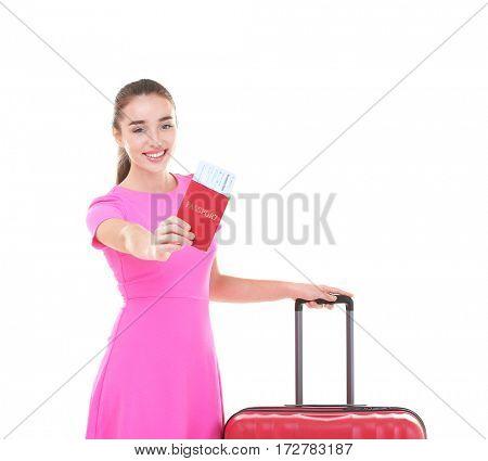 Beautiful female tourist on white background