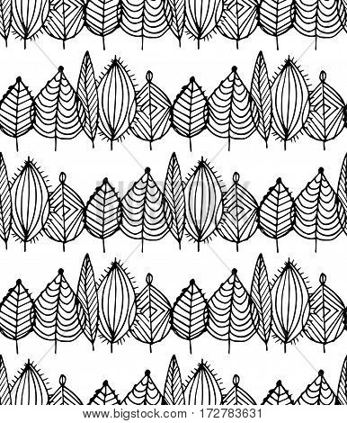 Black and white crossed leaves seamless pattern in vector. Green foliage endless background in sketch style