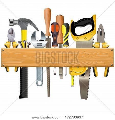 Vector Wooden Plank with Tools isolated on white background
