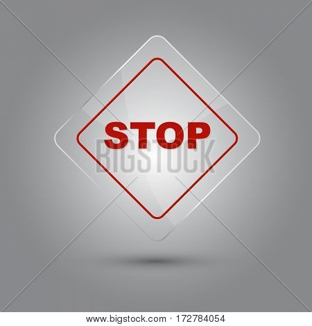 Stop sign glossy vector illustration with shadow