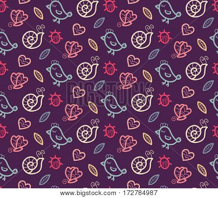 Summer vector seamless pattern with bird, ladybug, butterfly, snail, heart and leaf