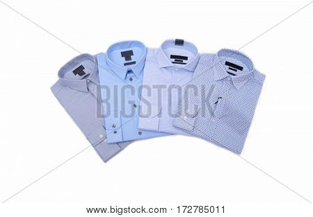 Business classic men's shirts with different prints.- white background
