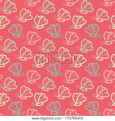 Butterfly seamless pattern pink background in vector