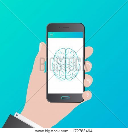 Smart phone with brain on screen. Vector illustration