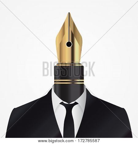 Man in suit with pen. Illustrator avatar. Vector illustration