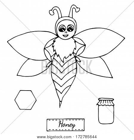 Cute bee isolated on the white background. For coloring book and other child design.