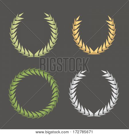 Laurel Leaf Wreath Polygon Style Icons Set