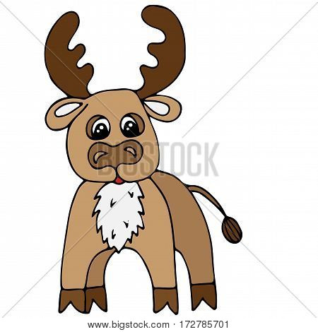 Cute colorful deer isolated on the white background. For coloring book and other child design.