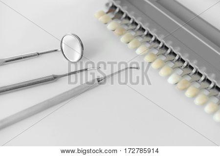 Dentist equipment on white table