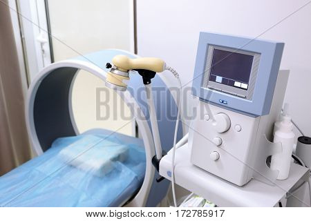 Special medical equipment for ultrasound scan in modern clinic